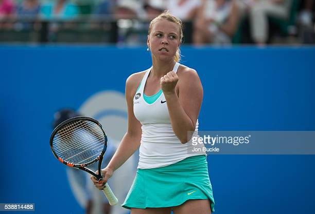 Anett Kontaveit of Estonia celebrates during her women's singles match against Caroline Wozniacki of Denmark on day three of the WTA Aegon Open on...