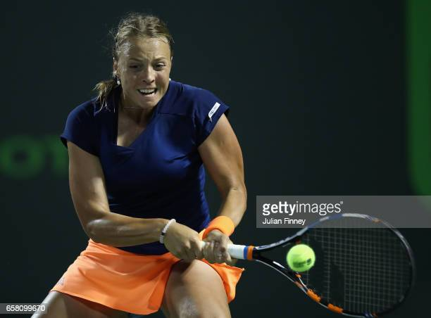 Anett Kontaveit of Estonia in action against Simona Halep of Romania at Crandon Park Tennis Center on March 26 2017 in Key Biscayne Florida