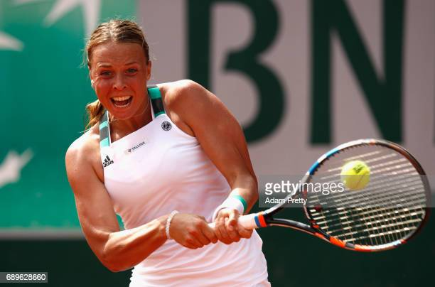 Anett Kontaveit of Estonia plays a backhand during the ladies singles first round match against Monica Niculescu of Romania on day two of the 2017...
