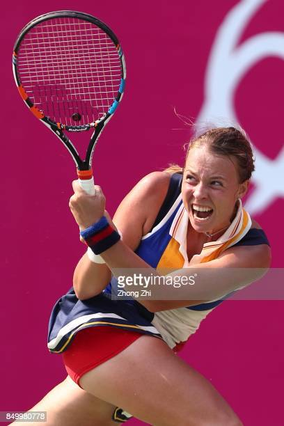 Anett Kontaveit of Estonia returns a shot during the match against Lizette Cabrera of Australia on Day 3 of WTA Guangzhou Open on September 20 2017...