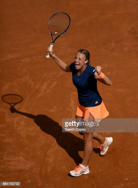 Anett Kontaveit of of Estonia celebrates beating Angelique Kerber of Germany during their second round match in The Internazionali BNL d'Italia 2017...