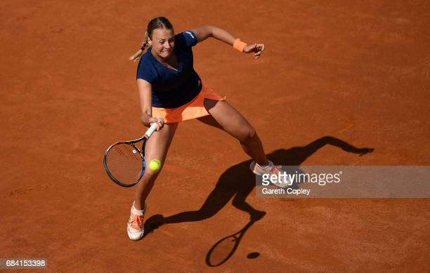 Anett Kontaveit of of Estonia plays a shot against Angelique Kerber of Germany during their second round match in The Internazionali BNL d'Italia...