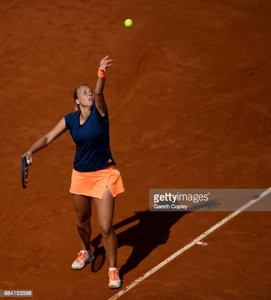 Anett Kontaveit of of Estonia serves against Angelique Kerber of Germany during their second round match in The Internazionali BNL d'Italia 2017 at...