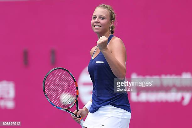 Anett Kontaveit of Spain celebrates a point during the match against Katerina Siniakova of Czech Republic on Day 2 of WTA Guangzhou Open on September...