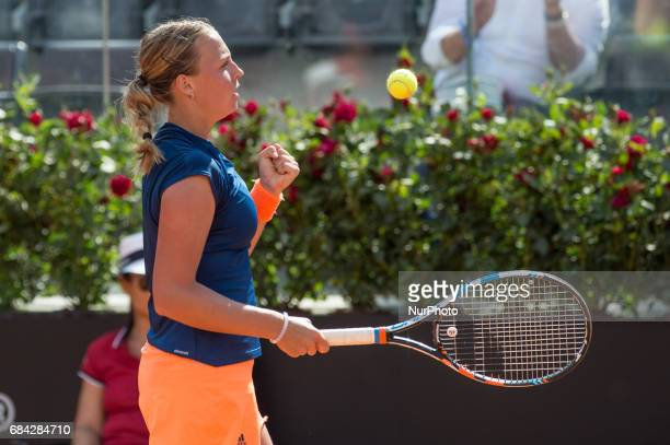 Anett Kontavelt celebrates during the match between Angelique Kerber vs Anett Kontaveit at the Internazionali BNL d'Italia 2017 at the Foro Italico...