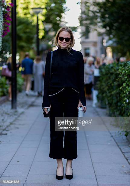 Anett von Austen outside Ida Sjöstedt during the second day of the Stockholm Fashion Week Spring/Summer 2017 on August 30 2016 in Stockholm Sweden
