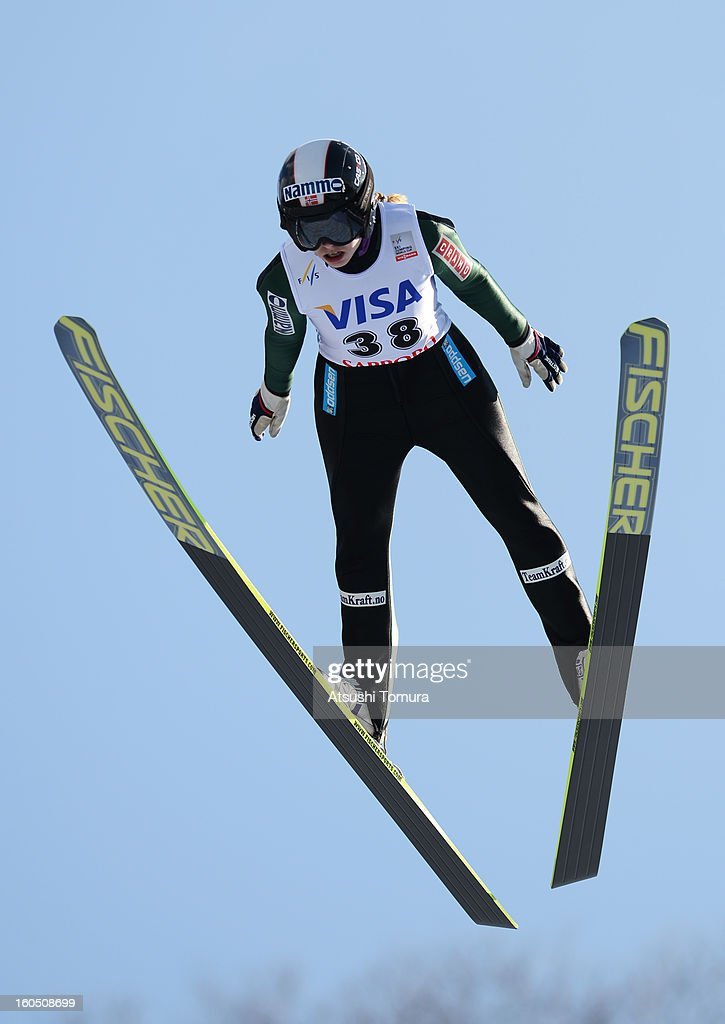 Anette Sagen of Norway in action during day one of the FIS Women's Ski Jumping World Cup at Miyanomori Jump Stadium on February 2, 2013 in Sapporo, Japan.