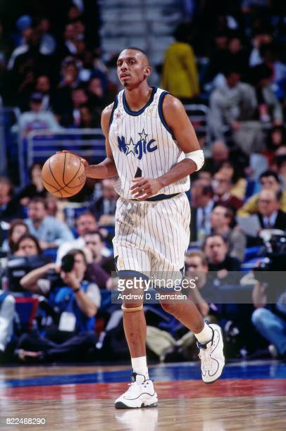 Anferenee Hardaway of the Orlando Magic dribbles during the 1997 AllStar Game on February 9 1997 at Gund Arena in Cleveland Ohio NOTE TO USER User...