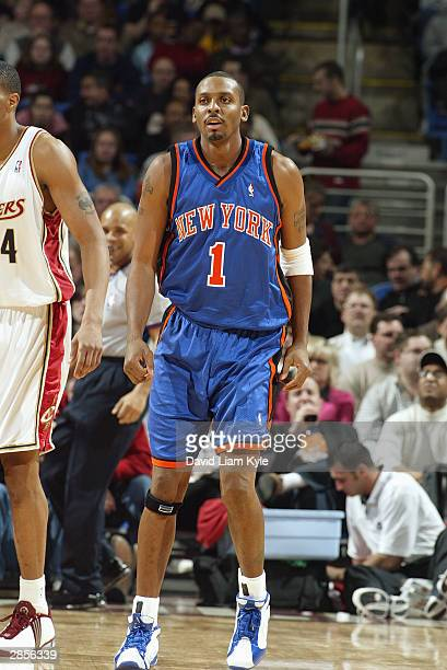 Anfernee Hardaway of the New York Knicks stands on the court during the game against the Cleveland Cavaliers at Gund Arena on January 6 2004 in...
