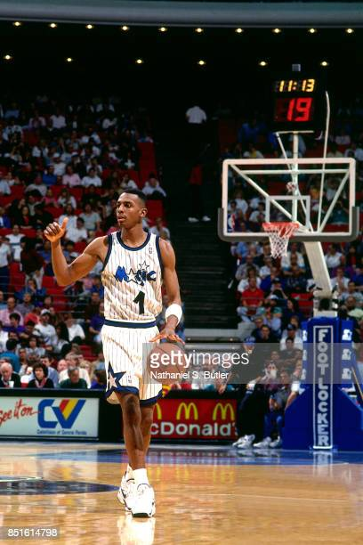 Anfernee Hardaway of the Orlando Magic dribbles circa 1994 at Orlando Arena in Orlando Florida NOTE TO USER User expressly acknowledges and agrees...