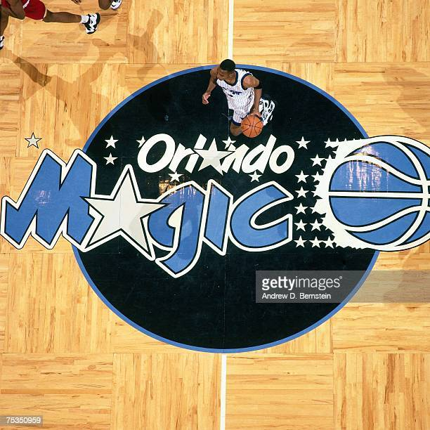 Anfernee Hardaway of the Orlando Magic dribbles upcourt against the Houston Rockets in Game Two of the 1995 NBA Finals at the Orlando Arena on June 9...