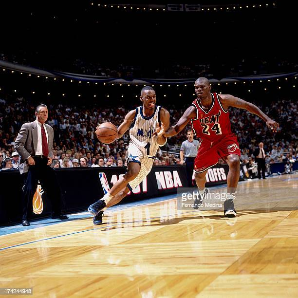 Anfernee Hardaway of the Orlando Magic drives against Jamal Mashburn of the Miami Heat during Game 4 in Round 1 of the Eastern Conference Playoffs...
