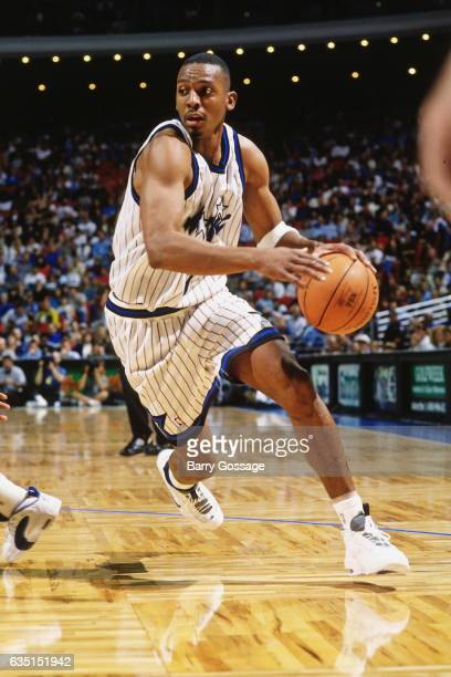 Anfernee Hardaway of the Orlando Magic drives against the Golden State Warriors on November 20 1995 at the Orlando Arena in Orlando Florida NOTE TO...