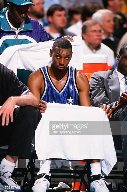 Anfernee Hardaway of the Orlando Magic during the game against the Charlotte Hornets on March 28 1999 at Charlotte Coliseum in Charlotte North...