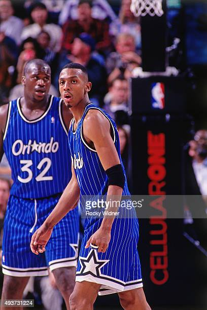 Anfernee Hardaway of the Orlando Magic looks on against the Sacramento Kings on March 28 1995 at Arco Arena in Sacramento California NOTE TO USER...