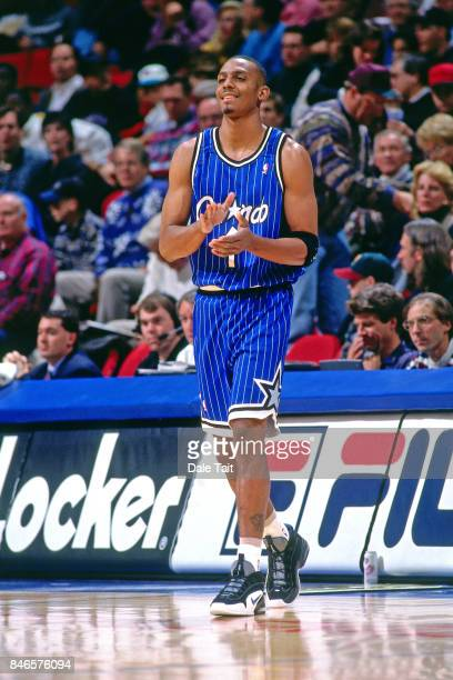 Anfernee Hardaway of the Orlando Magic looks on against the Minnesota Timberwolves circa 1996 at the Target Center in Minneapolis Minnesota NOTE TO...