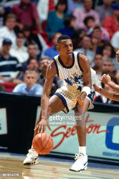 Anfernee Hardaway of the Orlando Magic posts up circa 1994 at Orlando Arena in Orlando Florida NOTE TO USER User expressly acknowledges and agrees...