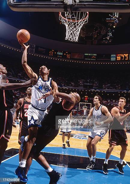 Anfernee Hardaway of the Orlando Magic shoots a layup against the Miami Heat during Game 3 in Round 1 of the Eastern Conference Playoffs played April...