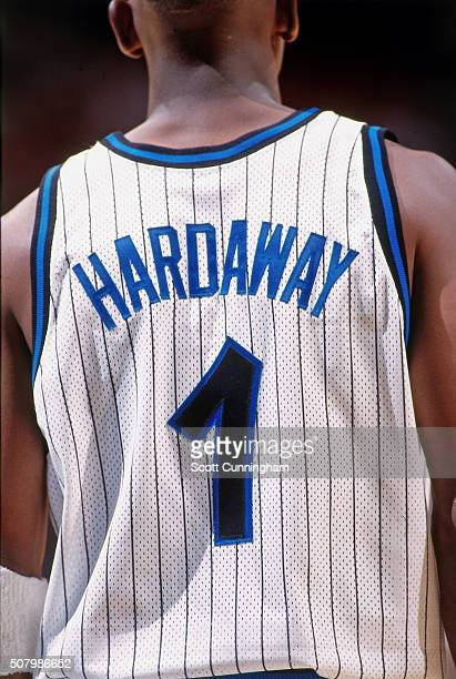 Anfernee Hardaway of the Orlando Magic against the San Antonio Spurs during a preseason game on October 14 1997 at the Orlando Arena in Orlando...