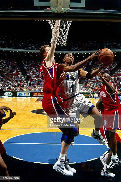 Anfernee Hardaway of the Orlando Magic shoots against the Philadelphia 76ers on February 17 1995 at the Amway Arena in Orlando Florida NOTE TO USER...