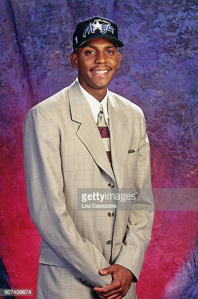 Anfernee Hardaway poses for a portrait after he was selected number three overall by the Orlando Magic during the 1993 NBA Draft on June 30 1993 at...