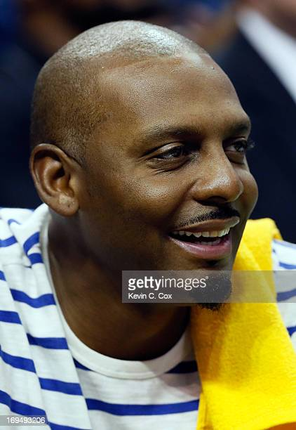 Anfernee 'Penny' Hardaway watches Game Three of the Western Conference Finals of the 2013 NBA Playoffs between the Memphis Grizzlies and the San...