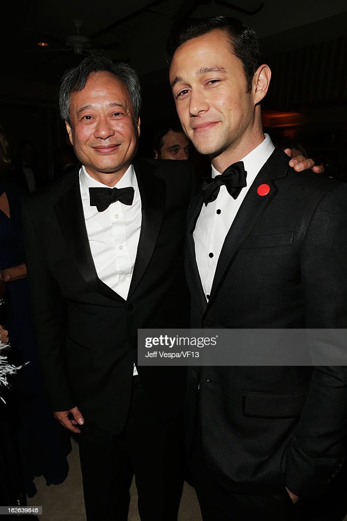 (EXCLUSIVE ACCESS SPECIAL RATES APPLY; NO NORTH AMERICAN ON-AIR BROADCAST UNTIL FEBRUARY 28, Ang Lee and Joseph Gordon-Levitt attend the 2013 Vanity Fair Oscar Party hosted by Graydon Carter at Sunset Tower on February 24, 2013 in West Hollywood, California.