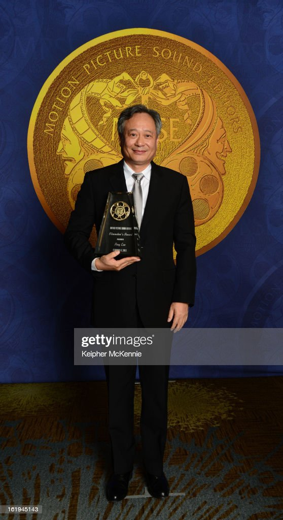 <a gi-track='captionPersonalityLinkClicked' href=/galleries/search?phrase=Ang+Lee&family=editorial&specificpeople=215104 ng-click='$event.stopPropagation()'>Ang Lee</a> holds his Filmmaker's Award at the MPSE Golden Reel Awards Ceremony at Westin Bonaventure Hotel on February 17, 2013 in Los Angeles, California.