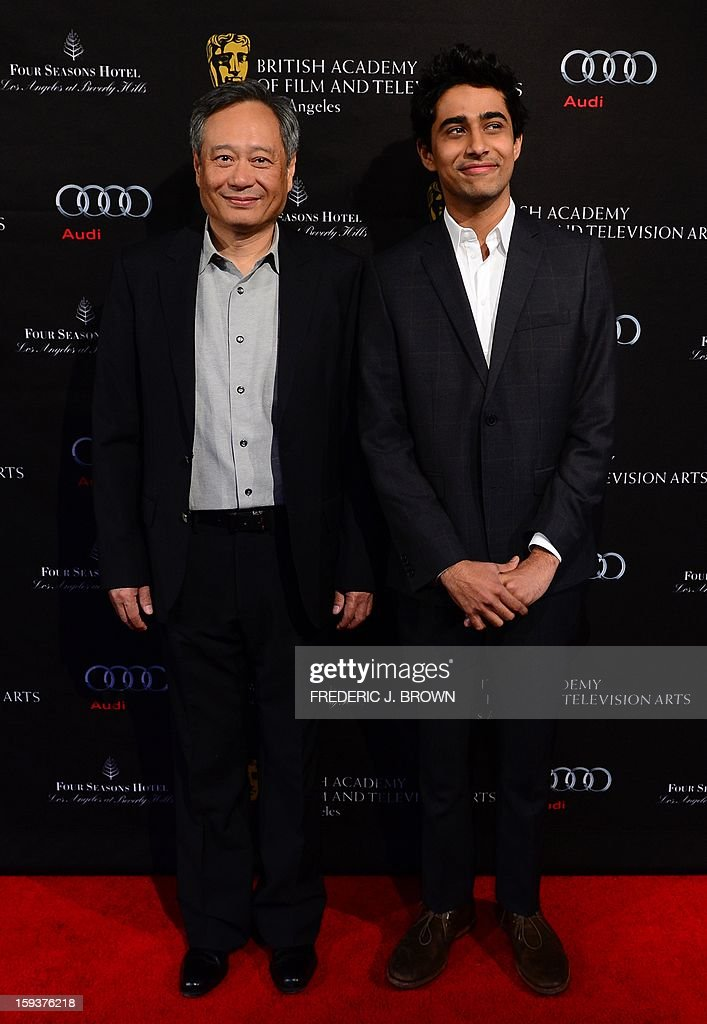 Ang Li and Suraj Sharma pose on arrival for the British Academy of Film and Television Arts (BAFTA) Los Angeles Awards Season Tea Party on January 12, 2013 in Beverly Hills, California. AFP PHOTO / Frederic J. BROWN