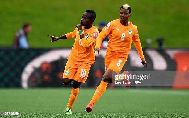 Ange Nguessan of Cote D'Ivoire celebrates after scoring her teams first goal during the FIFA Women's World Cup 2015 Group B match between Cote...