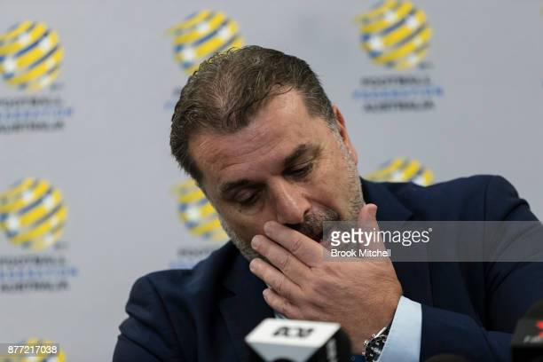 Ange Postecoglou announces he will step aside from his role as coach of the Socceroos during a FFA Socceroos press conference at Sydney Cricket...