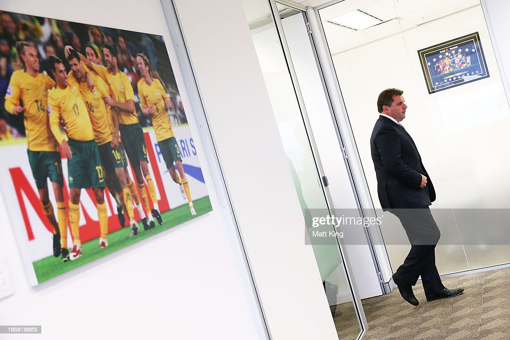 Ange Postecoglou arrives at a press conference at the FFA Headquarters on October 23, 2013 in Sydney, Australia. The FFA today announced Postecoglou as the Socceroos new head coach through to the 2018 World Cup.