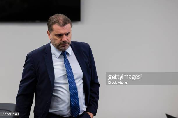 Ange Postecoglou arrives to announce he will step aside from his role as coach of the Socceroos at a FFA Socceroos press conference at Sydney Cricket...