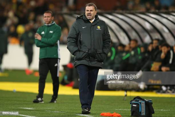 Ange Postecoglou coach of Australia during the 2018 FIFA World Cup Qualifier match between the Australian Socceroos and Saudi Arabia at the Adelaide...