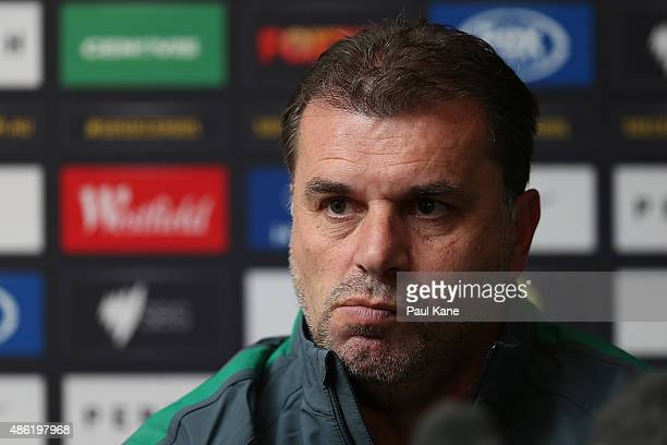 Ange Postecoglou head coach of Australia addresses the media during an Australian Socceroos press conference at the Hyatt Regency on September 2 2015...