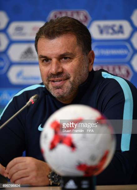 Ange Postecoglou head coach of Australia talks with the media during a press conference on June 21 2017 in Saint Petersburg Russia