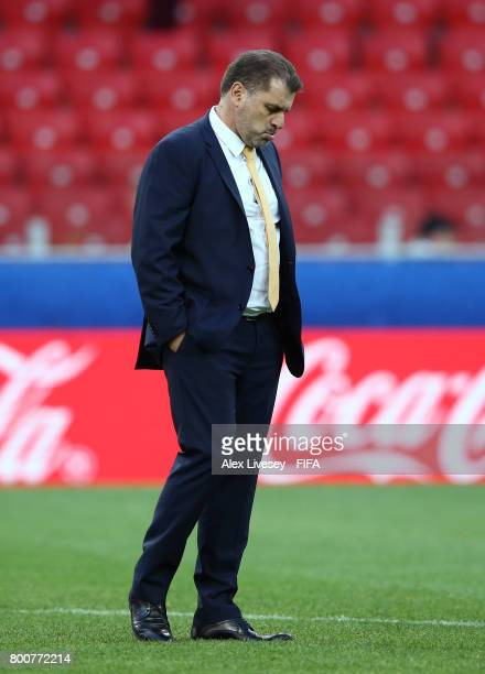 Ange Postecoglou manager of Australia looks dejected after the FIFA Confederations Cup Russia 2017 Group B match between Chile and Australia at...