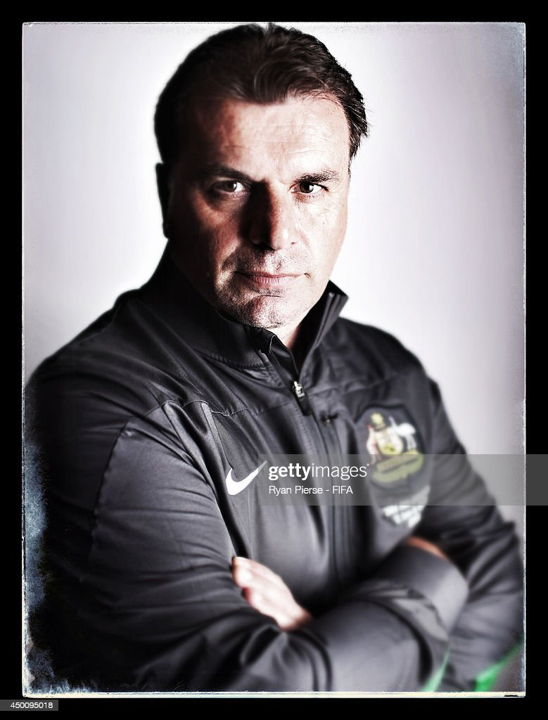 <a gi-track='captionPersonalityLinkClicked' href=/galleries/search?phrase=Ange+Postecoglou&family=editorial&specificpeople=3395755 ng-click='$event.stopPropagation()'>Ange Postecoglou</a>, manager of Australia, poses during the official FIFA World Cup 2014 portrait session on June 4, 2014 in Vitoria, Brazil.