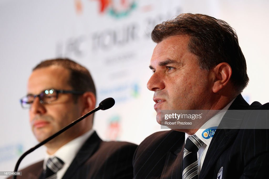 Ange Postecoglou Melbourne Victory Manager speaks to the media during a press conference at Melbourne Cricket Ground on April 23, 2013 in Melbourne, Australia. Liverpool FC will play Melbourne Victory in a friendly at the MCG on July 24th.