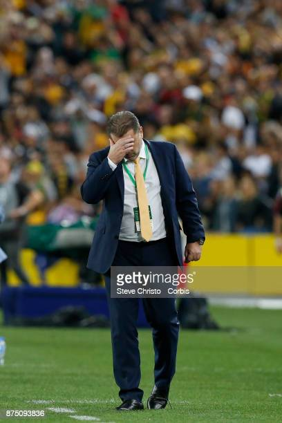 Ange Postecoglou of the Australia looks relieved after the first goal during the 2nd leg of the 2018 FIFA World Cup Qualifier between the Australia...