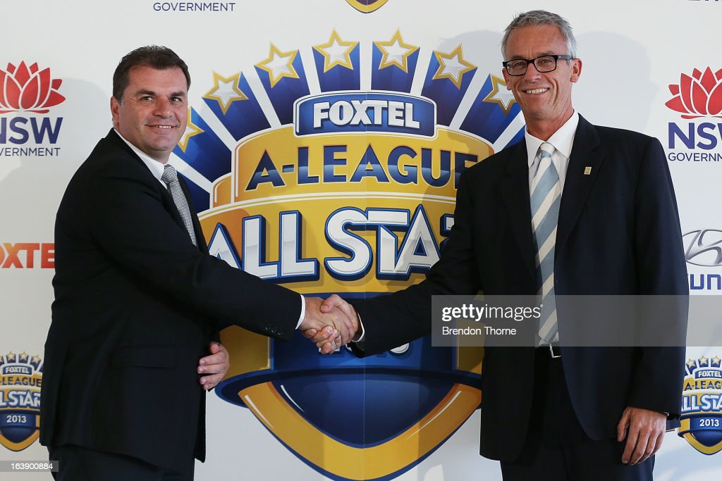 Ange Postecoglou shakes hands with FFA CEO, <a gi-track='captionPersonalityLinkClicked' href=/galleries/search?phrase=David+Gallop&family=editorial&specificpeople=579322 ng-click='$event.stopPropagation()'>David Gallop</a> after being announced as coach of the Foxtel A-League All Stars to face Manchester United during a FFA All-Stars announcement at Blu Horizon on March 18, 2013 in Sydney, Australia.