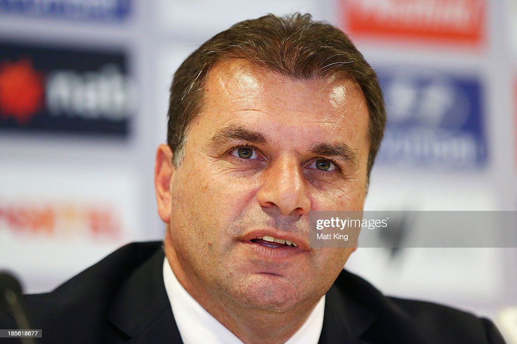 Ange Postecoglou speaks to the media during a press conference at the FFA Headquarters on October 23, 2013 in Sydney, Australia. The FFA today announced Postecoglou as the Socceroos new head coach through to the 2018 World Cup.