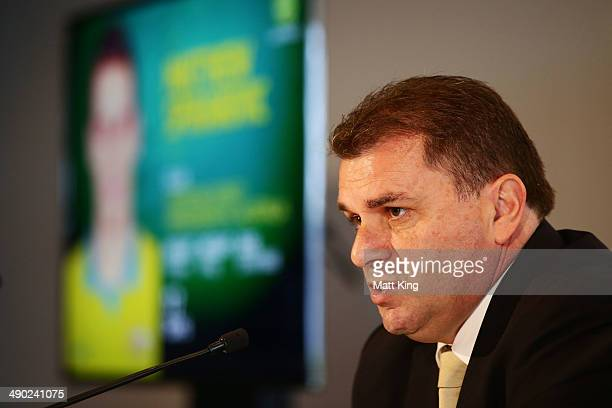 Ange Postecoglou speaks to the media during the Socceroos 2014 FIFA World Cup Preliminary Squad Announcement at Museum of Contemporary Art on May 14...