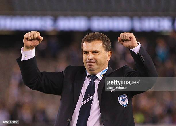Ange Postecoglou the coach of the Victory celebrates to the crowd after winning his final game as coach during the round three ALeague match between...