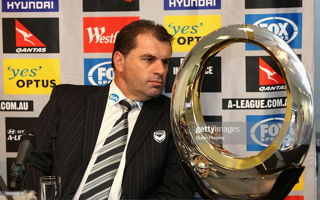 Ange Postecoglou the coach of the Victory talks during the Melbourne Victory A-League 2013 Finals Series Launch at Etihad Stadium on April 2, 2013 in Melbourne, Australia.