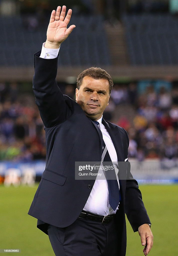 Ange Postecoglou the coach of the Victory waves good bye to the crowd during the round three A-League match between Melbourne Victory and Brisbane Roar at Etihad Stadium on October 25, 2013 in Melbourne, Australia.