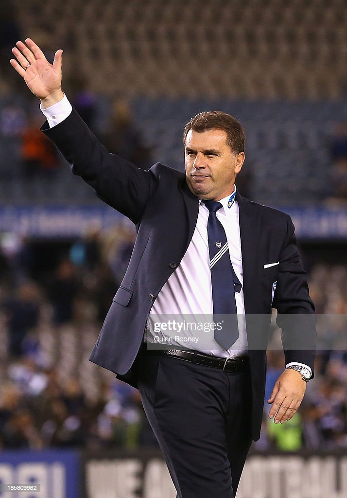 <a gi-track='captionPersonalityLinkClicked' href=/galleries/search?phrase=Ange+Postecoglou&family=editorial&specificpeople=3395755 ng-click='$event.stopPropagation()'>Ange Postecoglou</a> the coach of the Victory waves good bye to the crowd during the round three A-League match between Melbourne Victory and Brisbane Roar at Etihad Stadium on October 25, 2013 in Melbourne, Australia.