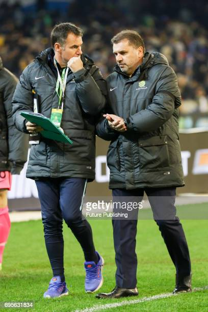 Ange Postecoglou walks off the field at half time as Brazil play Australia in the Chevrolet Brasil Global Tour 2017 on June 13 2017 in Melbourne...