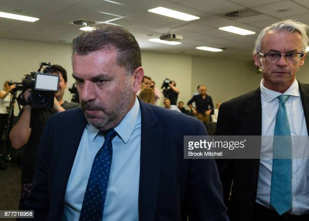 Ange Postecoglou with FFA chief executive David Gallop after announcing he will step aside from his role as coach of the Socceroos during a FFA...