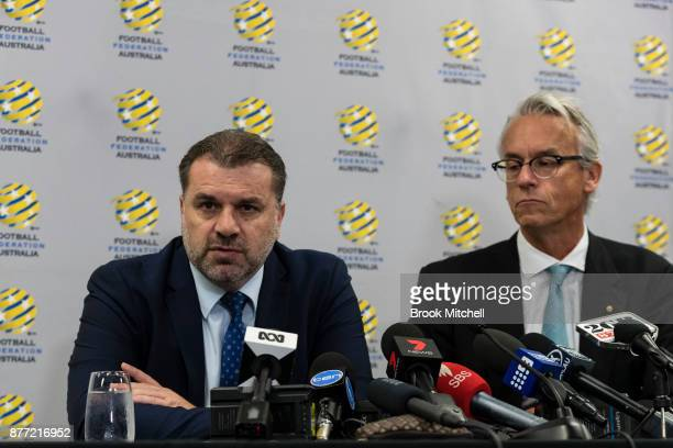 Ange Postecoglou with FFA chief executive David Gallop announces he will step aside from his role as coach of the Socceroos during a FFA Socceroos...